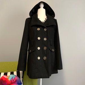New York & Company Black Wool Peacoat